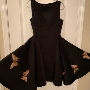 Full Flared Dress with Butterfly Pattern Black S